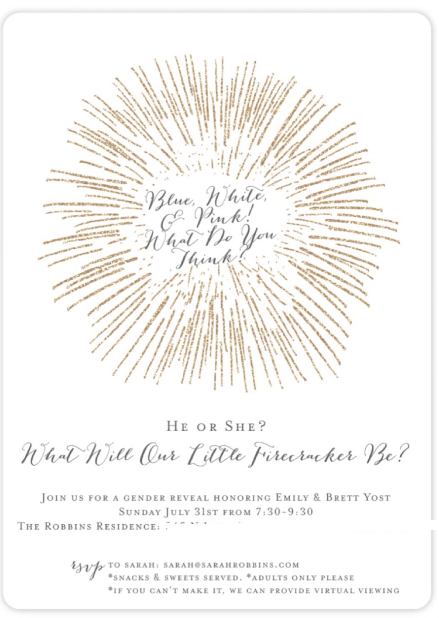 firework gender reveal invitation